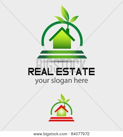Eco home sign Branding corporate logo isolated