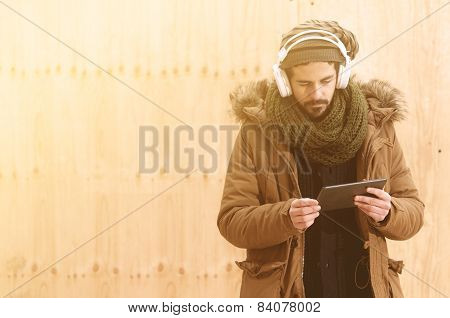 Man Downloading Music In Instagram Style