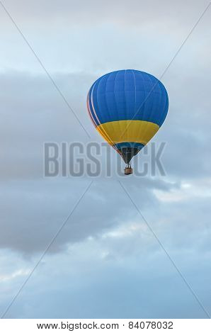 Blue and yellow Hot Air Balloons in Flight. Outdoor, Colorful