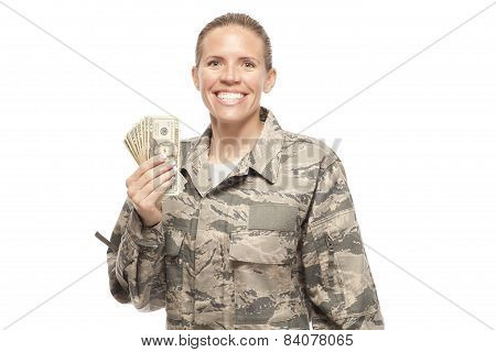 Happy Female Airman With Money