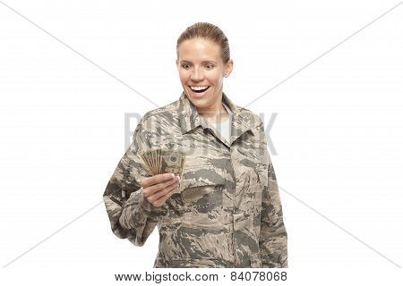 Excited Female Airman With Money