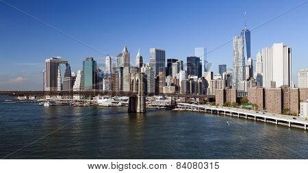 New York Brooklyn Bridge And Downtown