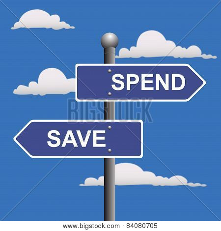 Street, signs, save, spend, arrows
