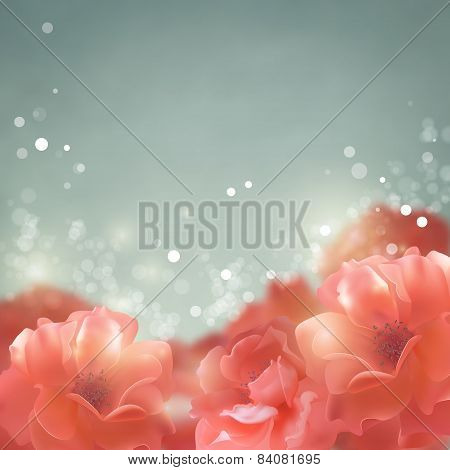 Shining Flowers Roses Background
