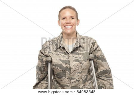 Happy Female Airman On Crutches