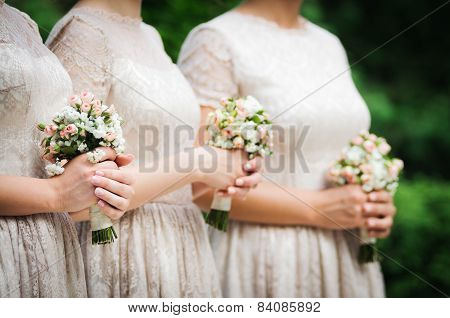 Bridesmaids on wedding party of their best friend