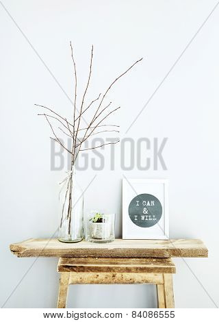 Motivational Frame I Can And I Will With Glass Bottles. Scandinavian Hipster Style Room Interior