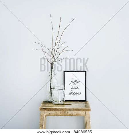 Motivational Frame Follow Your Dreams With Glass Bottles. Scandinavian Hipster Style Room Interior