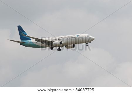 Thailand,bangkok-mar 3:garuda Airline Plane Flying Above Suvarnabhumi Airport Runway And Prepare To