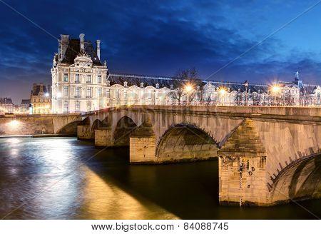 Paris - Bridge Royal And Louvre Palace
