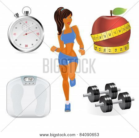 poster of Vector flat set of fitness woman. Flat illustration of fitness elements.