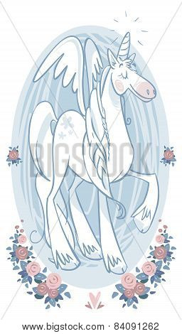 Cartoon Magic Unicorn. Vector Illustration