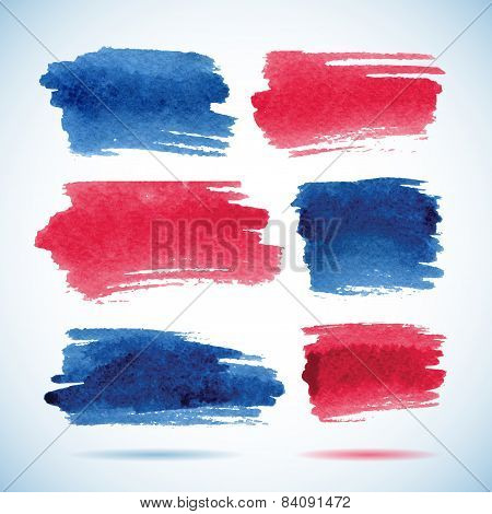 Brushstroke banners.Ink red and blue watercolor spot backgrounds.Template with shadow