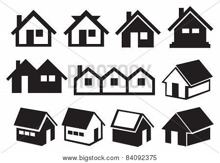 Black And White Gabled Roof House Icon Set