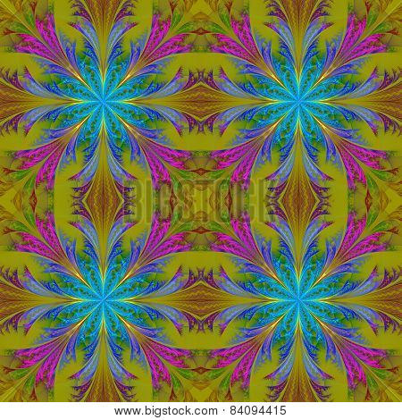 Beautiful Pattern From Fractal Flowers. Blue And Olive Palette. Collection - Frosty Pattern.
