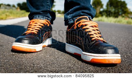 Orange Black Sport Shoes, On The Move