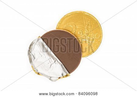 Fake Two Euro Coin Chocolate