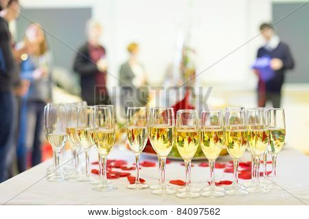Banquet event. Champagne on table.