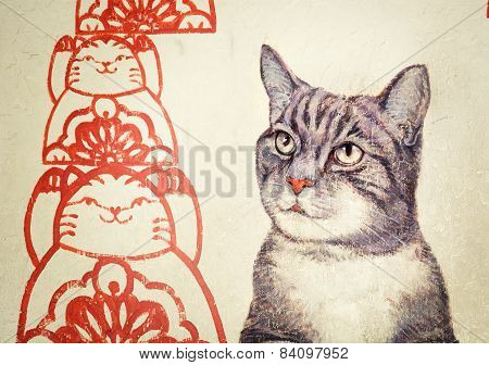 Malaysia, Penang, Georgetown - Circa Jul 2014: Mural With Realistic Picture Of A Tortoiseshell Cat B