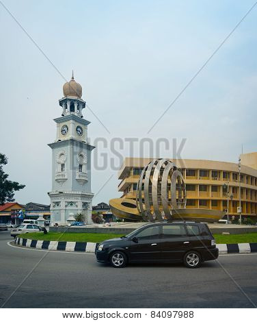 Malaysia, Penang, Georgetown - Circa Jul 2014: The Queen Victoria Memorial Clock Tower Stands Proudl