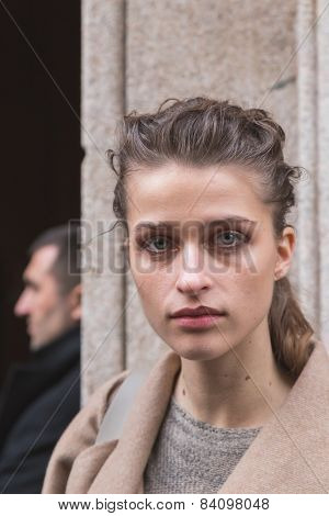 Beautiful Model Outside Trussardi Fashion Show Building For Milan Women's Fashion Week 2015