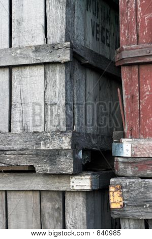 Close Up Of Old Wooden Fruit Crates