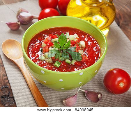 Tasty Vegetarian Gazpacho Soup On The Table