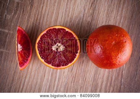 Red Blood Sicilian Orange Whole, Half And Wedge