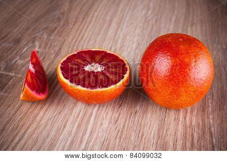 Red Blood Sicilian Orange Whole, Half And Wedge