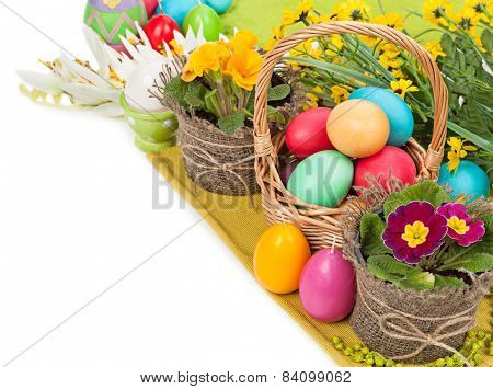 Easter Eggs In A Basket, Flowers Isolated On White Background