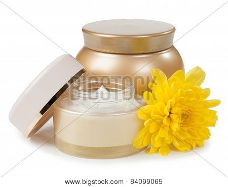 Cosmetics And Flower Isolated On White Background