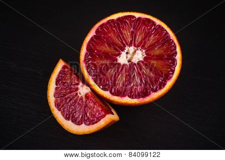 Red Blood Sicilian Orange Wedge And Half