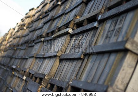 Long Line Of Old Wooden Fruit Crates