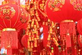 foto of chinese crackers  - chinese red lantern  - JPG