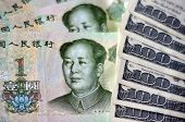 pic of yuan  - One Chinese Yuan Bills isolated on American money - JPG