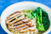 pic of roast duck  - Duck Roasted Noodle In Soup Thai Food - JPG