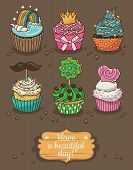 stock photo of cupcakes  - Cute card with cartoon cupcakes - JPG