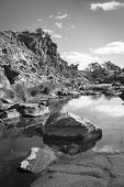 foto of oasis  - A beautiful oasis in rural outback Australia in black and white - JPG
