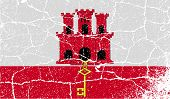 image of gibraltar  - Flag of Gibraltar with old texture - JPG