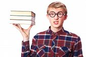picture of nerd glasses  - Nerd guy  in glasses with books - JPG