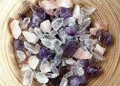 image of precious stone  - Semi precious amethyst quartz stones top view - JPG