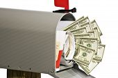 picture of mailbox  - Close up shot of lots of money in your mailbox with other mail isolated on a white background - JPG