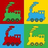 picture of locomotive  - Pop art locomotive symbol icons - JPG