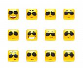 stock photo of angry smiley  - Set of twelve square smiley in yellow - JPG