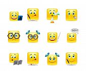 stock photo of fanny  - Vector set of emoticons for fanny students - JPG