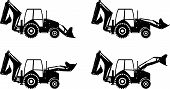 stock photo of backhoe  - Detailed illustration of backhoe loaders heavy equipment and machinery - JPG