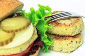 foto of patty-cake  - Vegan sea burger patties closeup on white background - JPG