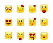 picture of emoticons  - Set very beauty valentine emoticons in love - JPG