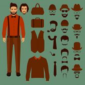 stock photo of hair bow  - hipster vector character - JPG