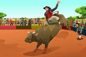 pic of arena  - A vector illustration of rodeo rider in an arena - JPG